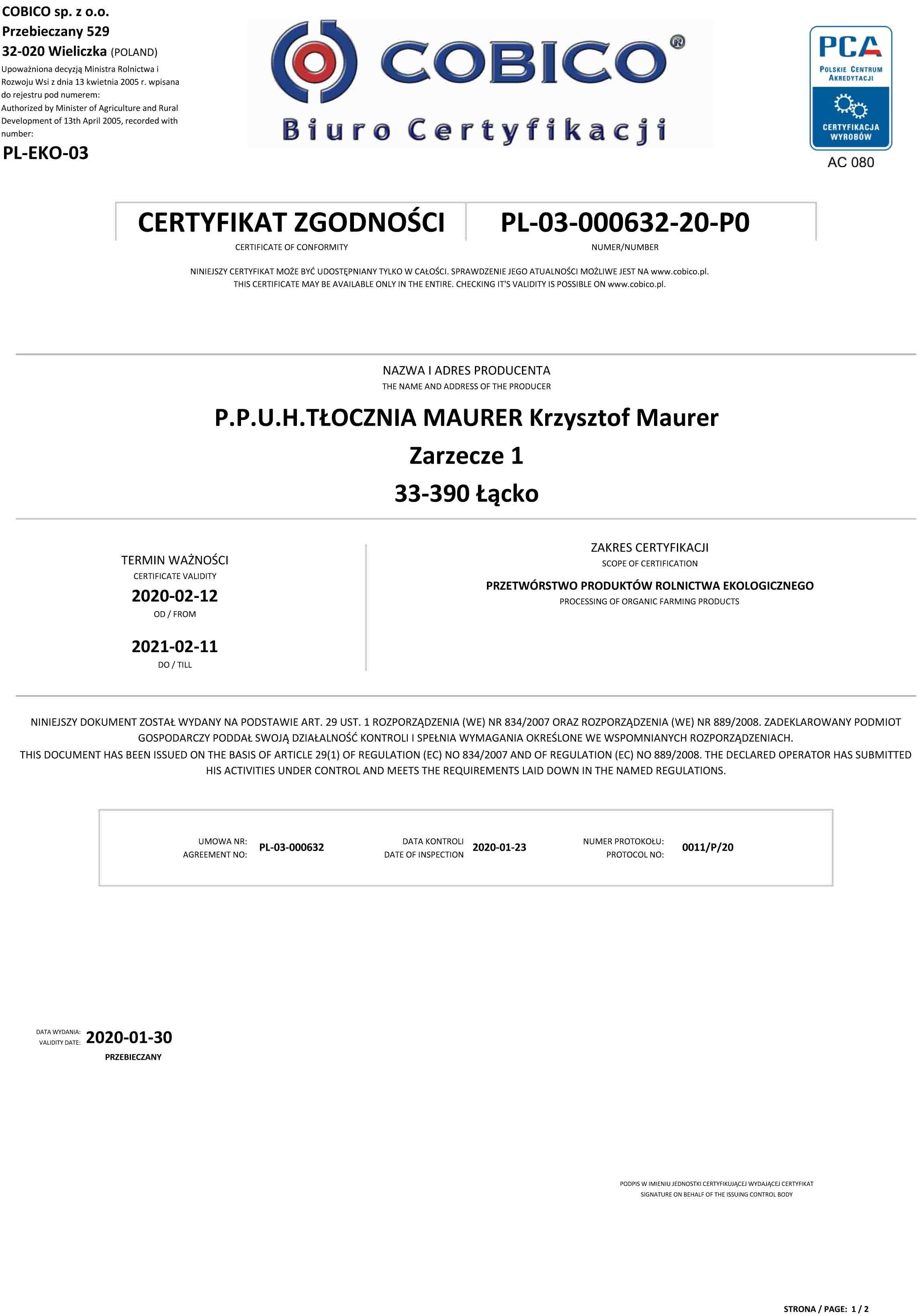 BIO certifikát MAURER