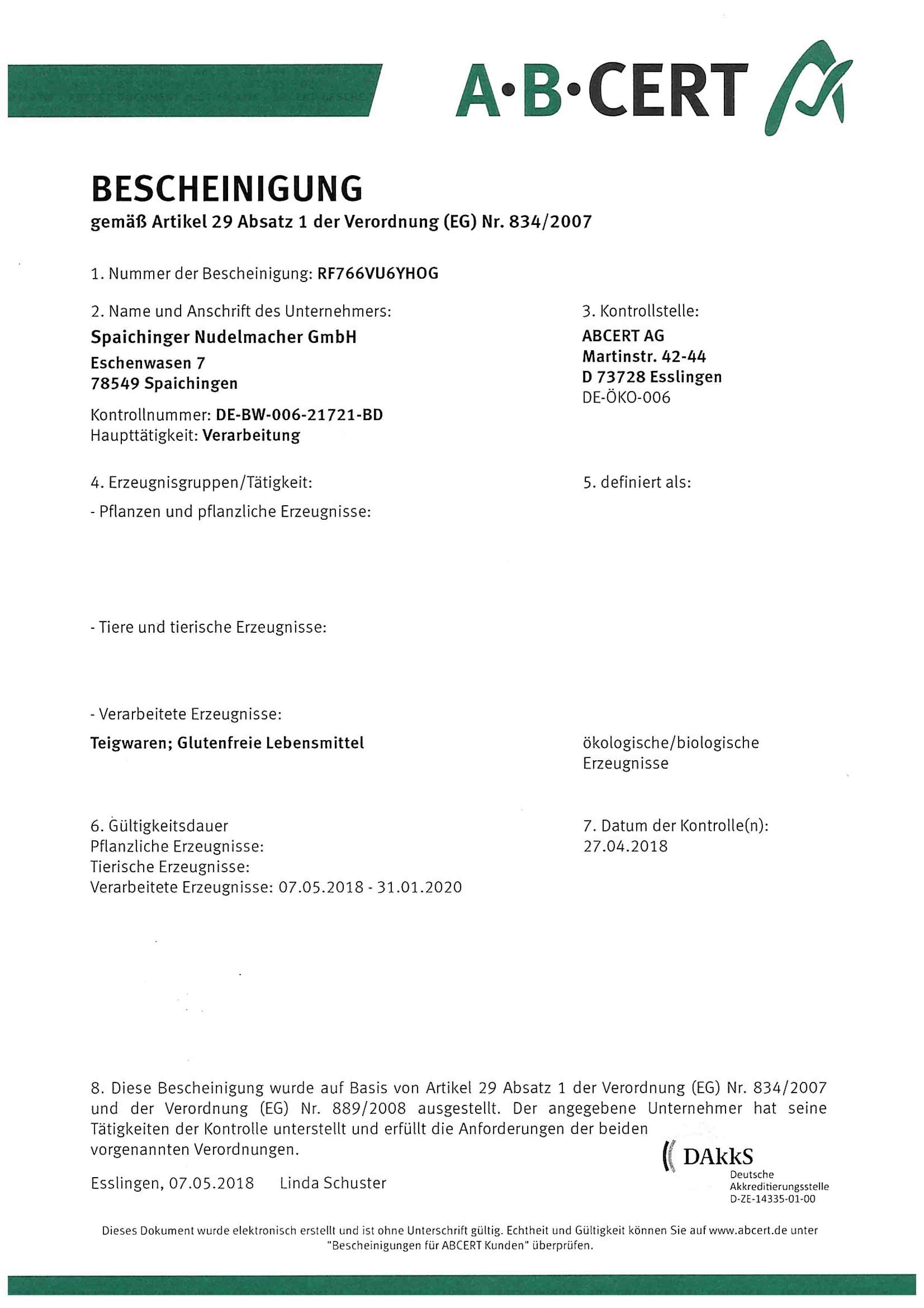 BIO certifikát SEITZ